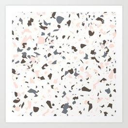 Multi-Colored Terrazzo Pattern - Pink, Brown, Cream, Gray Art Print