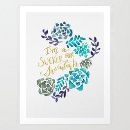 Sucker for Succulents (Blue Palette) Art Print