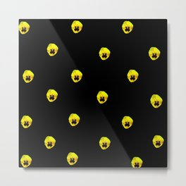 YELLOW  PANSY FLOWERS SPRINKLED ON MIDNIGHT BLACK Metal Print