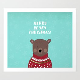 Merry Beary Christmas Art Print