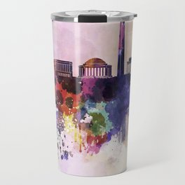Washington DC skyline in watercolor background  Travel Mug