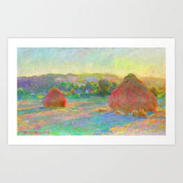 Stacks of Wheat End of Summer Painting Claude Monet French Impressionism Famous Art Oil On Canvas Art Print