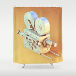 Low Poly Film Camera Shower Curtain