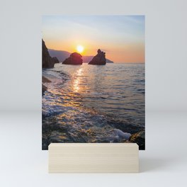 Amazing sunset light Rocky beach rocks in the Sea Natural environment Mini Art Print