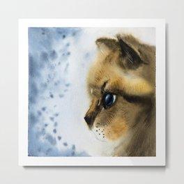 Watercolor Cat portrait Metal Print