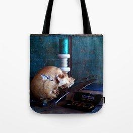 Skull in dark setup Tote Bag