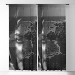 Portrait rock black white Blackout Curtain
