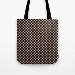 Black and Maple Sugar Polka Dots Tote Bag