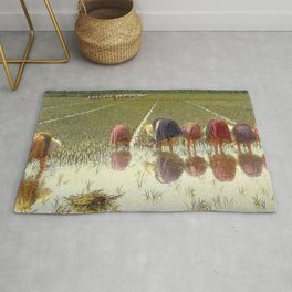 Tuscany Japonica Rice Harvest, Planting of Rice in the paddy fields painting by Angelo Morbelli Rug