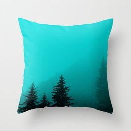0345v2 Turquoise Fog - Seward, Alaska Throw Pillow