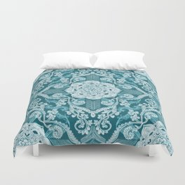 Centered Lace - Teal  Duvet Cover