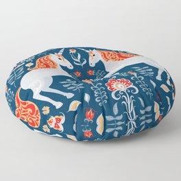 Unicorns, hummingbirds, bunnies, birds, flowers and leaves. Floor Pillow
