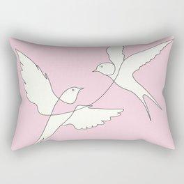 Two Swallows Line Art Rectangular Pillow
