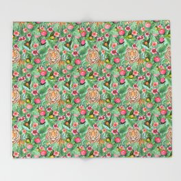 Tropical tiger jungle, tropical flowers Throw Blanket