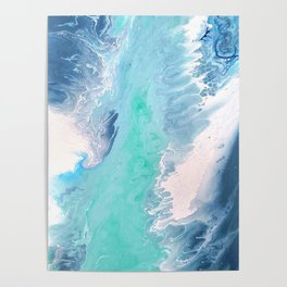 Blue Fluid Painting Waves Fluid Acrylic Abstract Poster