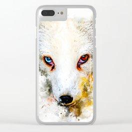 arctic fox bicolor eyes ws std Clear iPhone Case