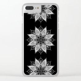 Black and White Flower Mandala Clear iPhone Case