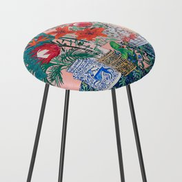 The Domesticated Jungle - Floral Still Life Counter Stool