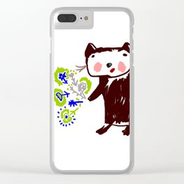 A little otter with flowers Clear iPhone Case