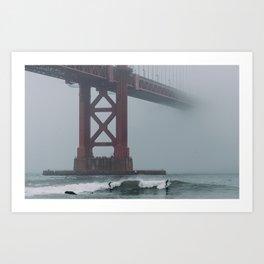 Surfers under Golden Gate Bridge Art Print