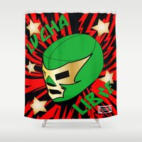 mucha Shower Curtains featuring Mucha Lucha by Los Espada Art
