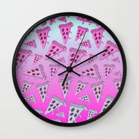 pizza Wall Clocks featuring PIZZA by TheYUCK