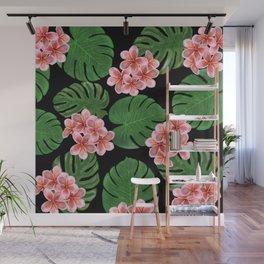 Tropical Floral Print Black Wall Mural