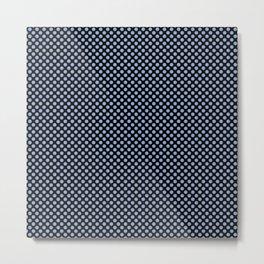 Black and Serenity Polka Dots Metal Print