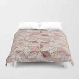 Modern rose gold geometric star flower pattern Duvet Cover
