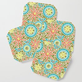 Birds and Flowers Mosaic - Green, orange, yellow Coaster