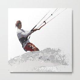 Kiteboarding Lets Go Fly A Kite Vector Metal Print