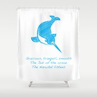 narwhal Shower Curtains featuring Narwhal by Gothic Panda