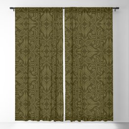 Floral leaf paisley motif running stitch style. Blackout Curtain