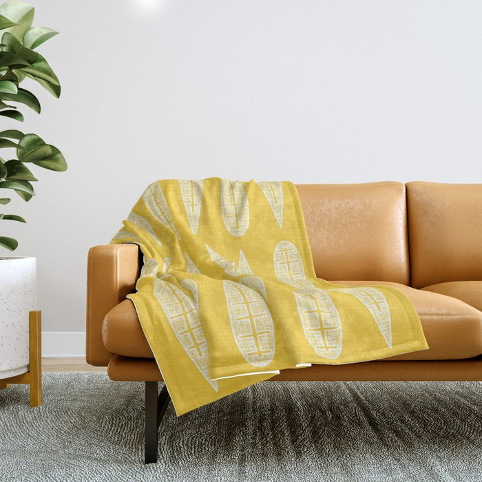 Golden Gum Leaves Throw Blanket