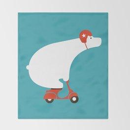 Polar bear on scooter Throw Blanket