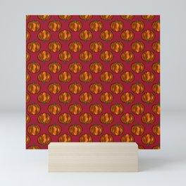 Midnight Fall Pumpkin Pattern on Ruby Red Mini Art Print