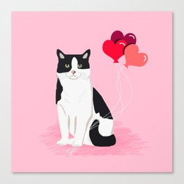 Cat valentines day love heart balloons cat breed must have Canvas Print