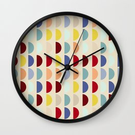 Semi circles multicolor geometric interior design Wall Clock