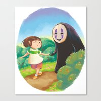 chihiro Canvas Prints featuring Chihiro and No-Face by MTerrenal