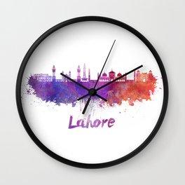 Lahore skyline in watercolor Wall Clock