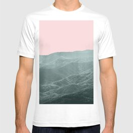 Mountains Pink + Green - Nature Photography T-shirt