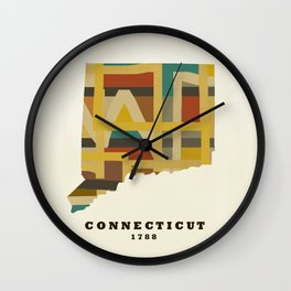Connecticut state map modern Wall Clock