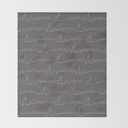 New York Skyline // Charcoal Grey Throw Blanket