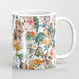 Cat and Floral Pattern III Coffee Mug