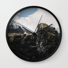 Cozy Mountain Cabin In Iceland - Landscape Photography Wall Clock