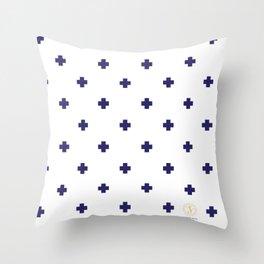 Modern Swiss - Bold Style Cross Plus Sign Throw Pillow