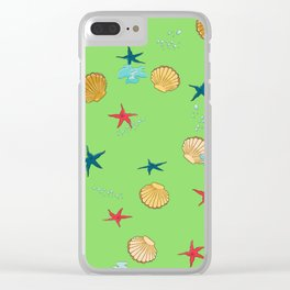 seashells and starfishes - green Clear iPhone Case