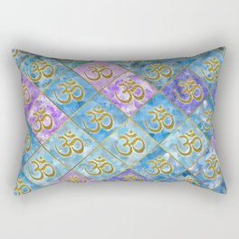 Golden OM symbol on Pastel Watercolor pattern Rectangular Pillow
