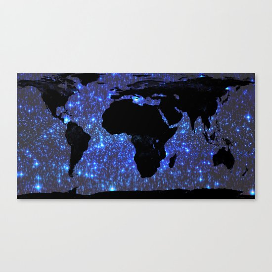 World Map : Blue Galaxy Stars Canvas Print