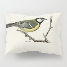 Talgoxe (PARUS MAJOR LIN) illustrated by the von Wright brothers Pillow Sham